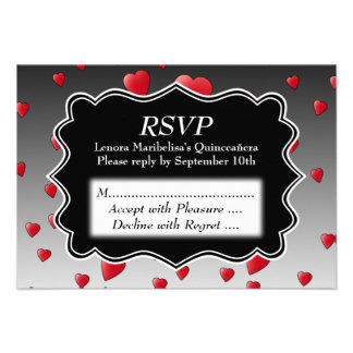 Bright Red Hearts Pattern Quinceanera Personalized Invitations