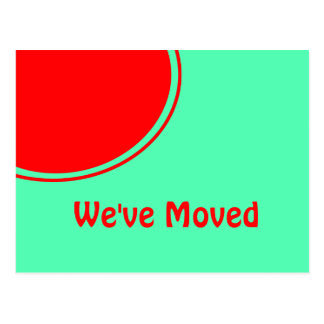 Bright red orange green Moving Announcement Postcard