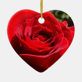 Bright Red Rose Flower Beautiful Floral Ceramic Heart Decoration