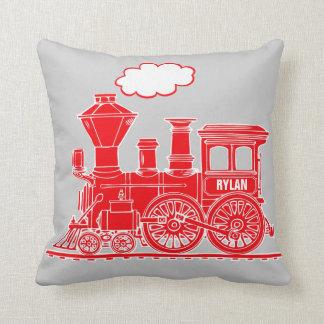 Bright red steam train loco grey throw pillow