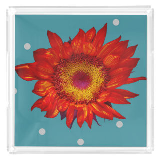 Bright Red Sunflower on Blue Perfume Tray