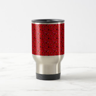 Bright Red Trendy Hibiscus Flowers Travel Mug