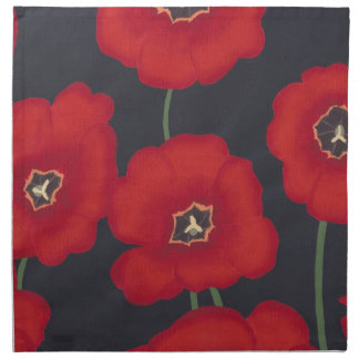 Bright Red Tulips on Black Painting Napkins