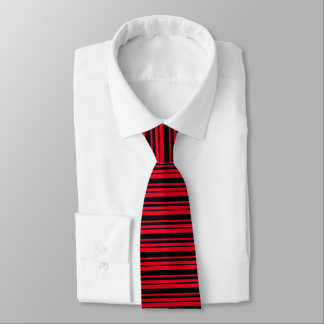 Bright Red With Black Stripes Tie