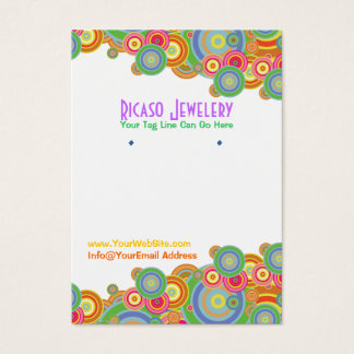 Bright Retro Circles Earring Background Business Card