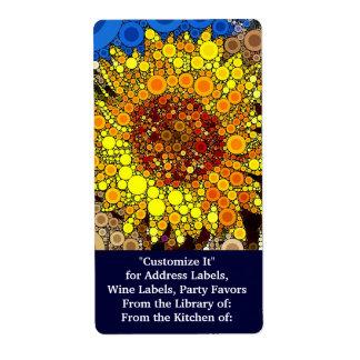 Bright Sunflower Circle Mosaic Digital Art Print Shipping Label