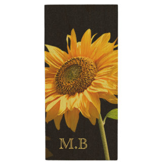 Bright Sunflower on Black Background Wood USB Flash Drive