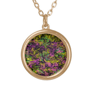 Bright Swirls of Pink Green and Yellow on Black Gold Plated Necklace