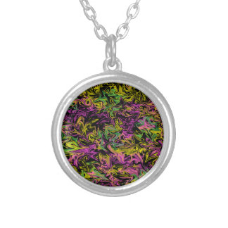Bright Swirls of Pink Green and Yellow on Black Silver Plated Necklace