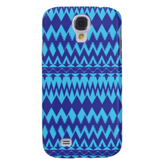 Bright Teal and Navy Blue Tribal Pattern Galaxy S4 Case