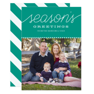"Bright Teal ""Season's Greetings"" Holiday Card 13 Cm X 18 Cm Invitation Card"