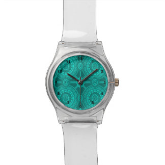 Bright Teal Vintage Geometric Circles Watch
