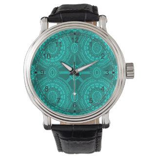 Bright Teal Vintage Geometric Circles Watch