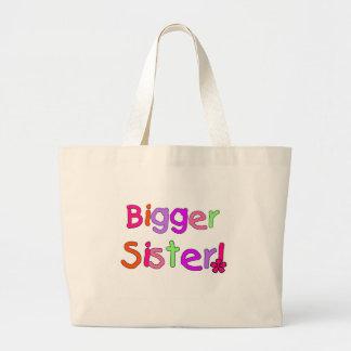 Bright Text Bigger Sister Large Tote Bag