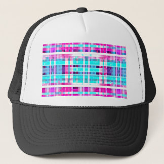 Bright Trendy Pink Teal Multicolor  Stripes Patter Trucker Hat