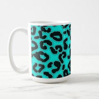 Bright Turquoise Leopard Animal Print Mugs