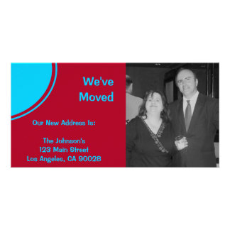 Bright turquoise red modern moving announcement card