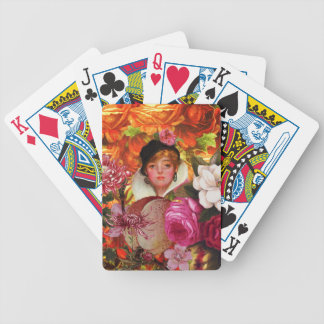 Bright Vintage Woman Flower Garden Bicycle Playing Cards