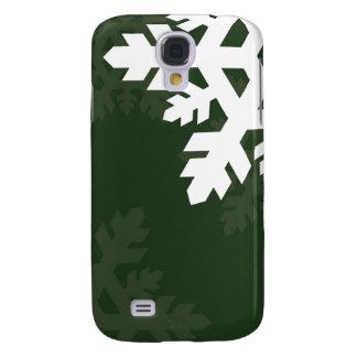 Bright, White Snowflakes against Dark Green Galaxy S4 Case