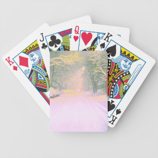 Bright winter night bicycle playing cards