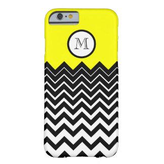Bright Yellow Black White Chevron Zigzag Monogram Barely There iPhone 6 Case