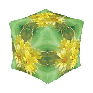 Bright Yellow Daisy Blossoms Pouf