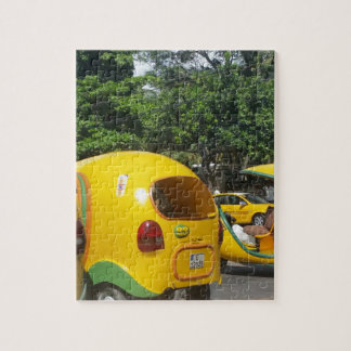 Bright yellow fun coco taxis from Cuba Jigsaw Puzzle