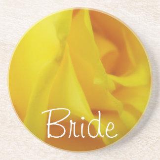 Bright Yellow Glowing Rose Wedding Coaster