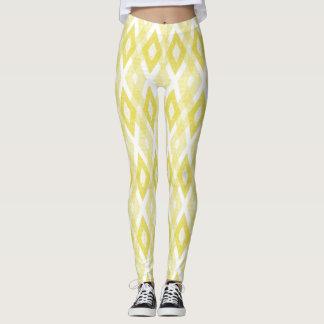 Bright Yellow Grunge Harlequin Pattern Leggings