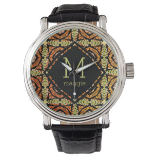 Brightly colored batik type pattern watch