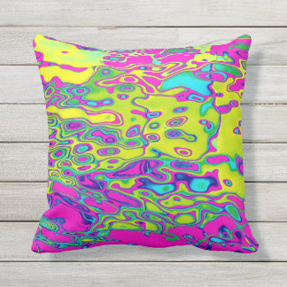 Brightly Colored Crazy Colorful Abstract Pattern Throw Pillow