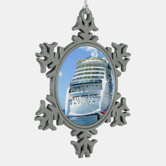 Brilliance Stern Snowflake Pewter Christmas Ornament