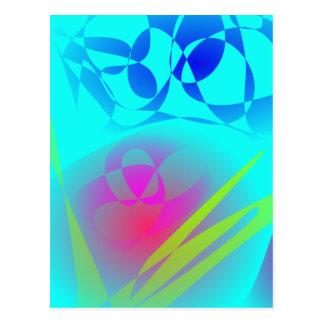 Brilliant Aqua Blue Abstract Pattern Postcards