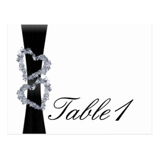 Brilliant Hearts: Black Ribbon and D Table Number Post Card