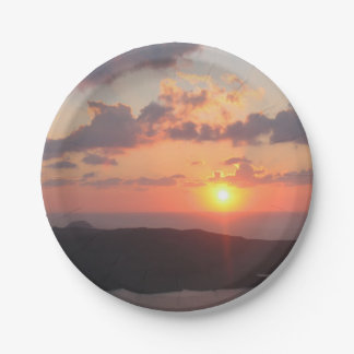 Brilliant Santorini Sunset Paper Plate