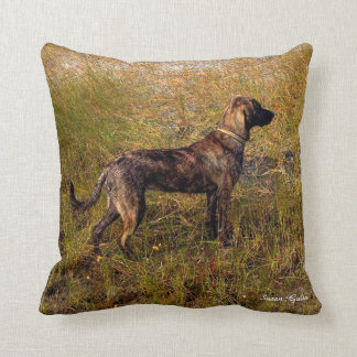 Brindle Plott Hound in Marsh Throw Pillow