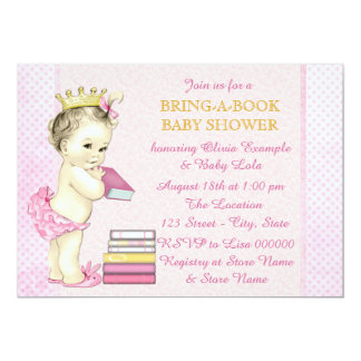Bring a Book Baby Girl Shower Card