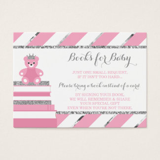 Bring A Book Card, Little Princess, Faux Glitter Business Card