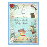 Bring a Book Mad Hatter & Cheshire Cat Baby Shower 13cm X 18cm Invitation Card