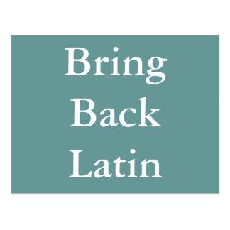 Bring Back Latin postcard