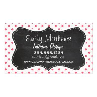 Brink Pink Polka Dots Vintage Chalkboard look Business Card