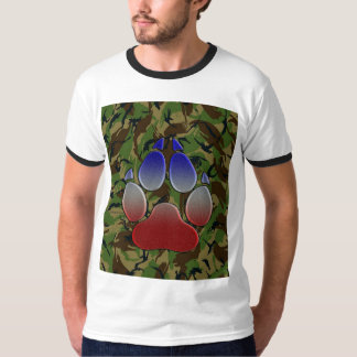 British Camo W/ Union Jack Coloured Wolf Paw (Camo T-Shirt