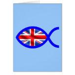 British Christian Fish Symbol Flag Greeting Cards