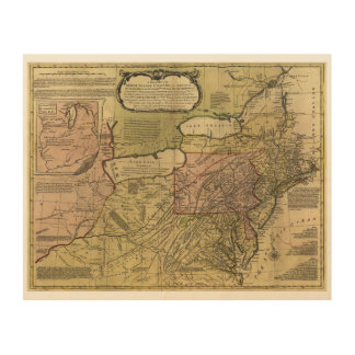 British Colonies in America Map (1765) Wood Canvases
