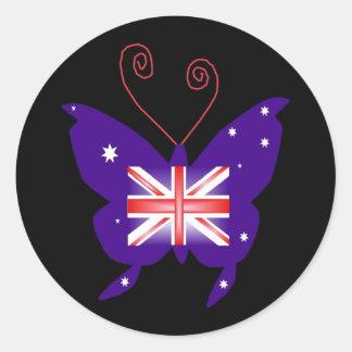 British Diva Butterfly Round Stickers