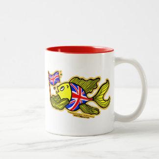 British Fish with a Union Jack Flag Two-Tone Coffee Mug