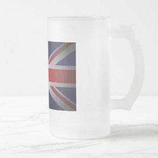 British Flag Frosted Glass Mug