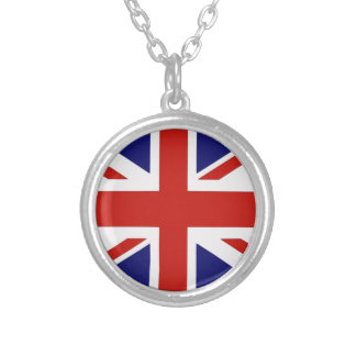 British flag silver plated necklace