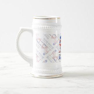 British Girl Silhouette Flag Beer Stein