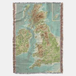 British Isles bathyorographical map Throw Blanket